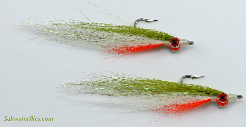 Fly Fishing Flies Clouser Minnow Chartreuse And Orange Redfish, Trout, Bass